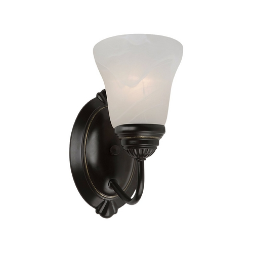 Sea Gull Lighting Sconce Wall Light with Alabaster Glass in Heirloom Bronze Finish 44760-782