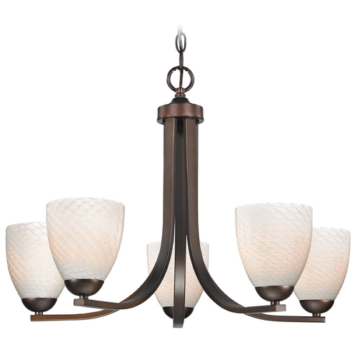 Design Classics Lighting Contemporary Bronze Chandelier with White Art Glass Bell Shades 584-220 GL1020MB