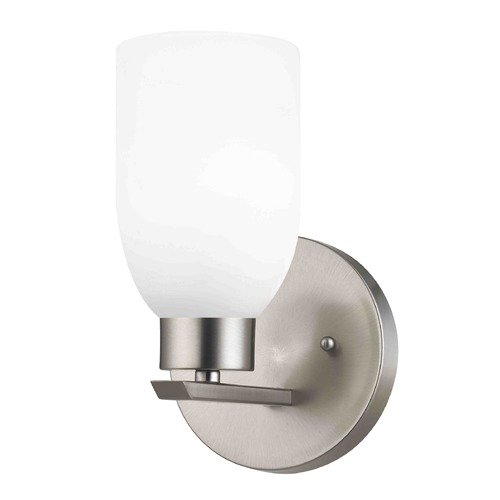 Design Classics Lighting Modern Sconce Wall Light with White Glass in Satin Nickel Finish 1124-1-09 GL1028D