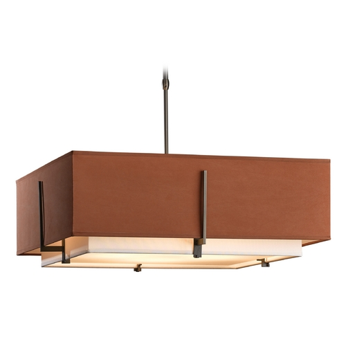 Hubbardton Forge Lighting Hubbardton Forge Lighting Exos Dark Smoke Pendant Light with Square Shade 139635-07-PFRC