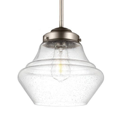 Feiss Lighting Feiss Alcott Satin Nickel Mini-Pendant Light P1405SN