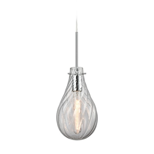 Elk Lighting Elk Lighting Cirrus Polished Chrome Mini-Pendant Light with Bowl / Dome Shade 10463/1