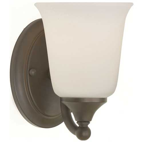 Home Solutions by Feiss Lighting Sconce Wall Light with White Glass in Oil Rubbed Bronze Finish VS10501-ORB