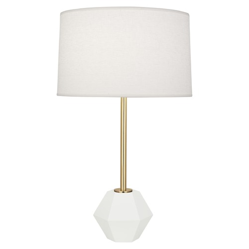 Robert Abbey Lighting Robert Abbey Lighting Marcel Modern Brass / Matte White Table Lamp with Drum Shade W200