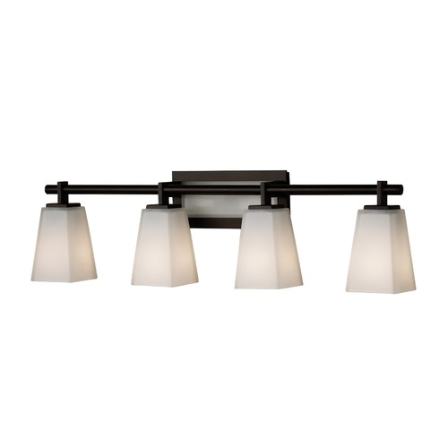 Feiss Lighting Modern Bathroom Light with White Glass in Oil Rubbed Bronze Finish VS16604-ORB