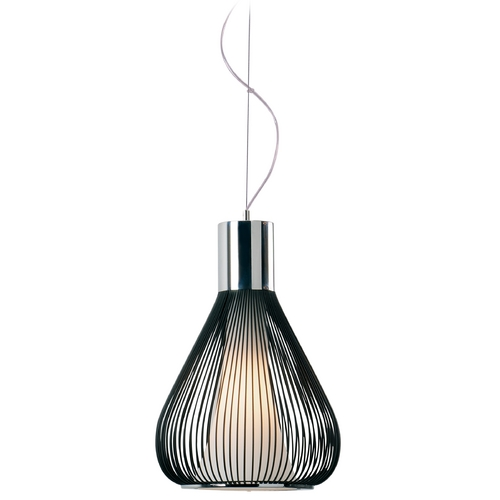 ET2 Lighting Modern Pendant Light with White Glass in Polished Chrome/black Finish E21501-09BK