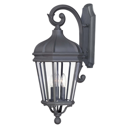 Minka Lavery Outdoor Wall Light with Clear Glass in Black Finish 8692-66
