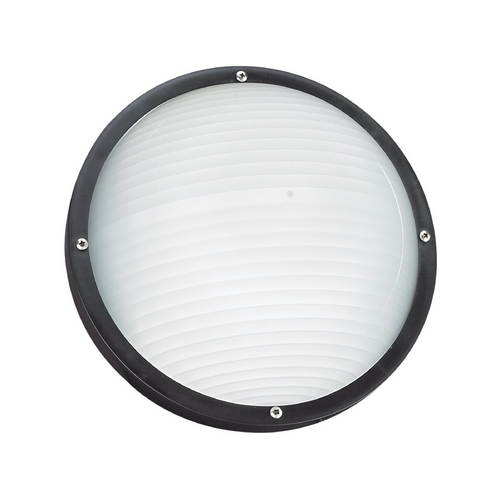 Sea Gull Lighting Black 10-Inch Round Bulkhead Light 83057-12