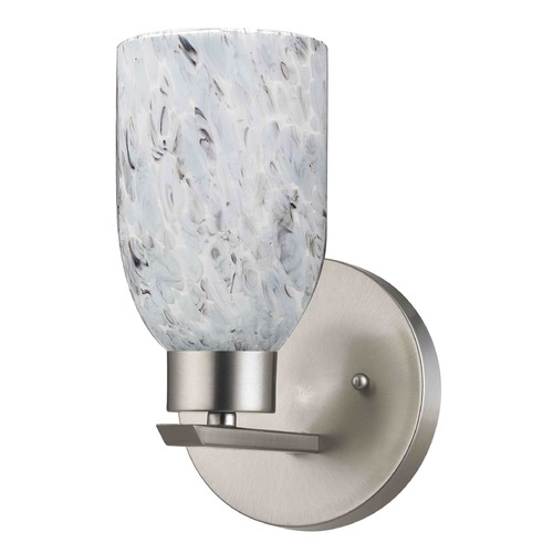 Grey Glass Wall Lights : Modern Sconce Wall Light with Blue-Grey Art Glass in Satin Nickel Finish 1124-1-09 GL1025D ...