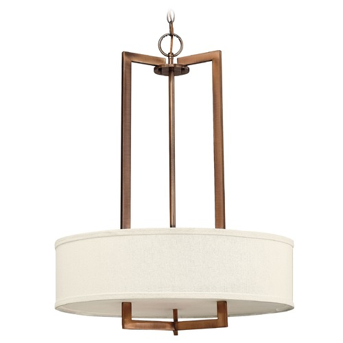 Hinkley Lighting Modern Drum Pendant Light with White Shade in Brushed Bronze Finish 3204BR