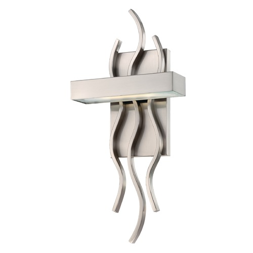 Nuvo Lighting Modern LED Sconce Wall Light with White Glass in Brush Nickel Finish 62/104