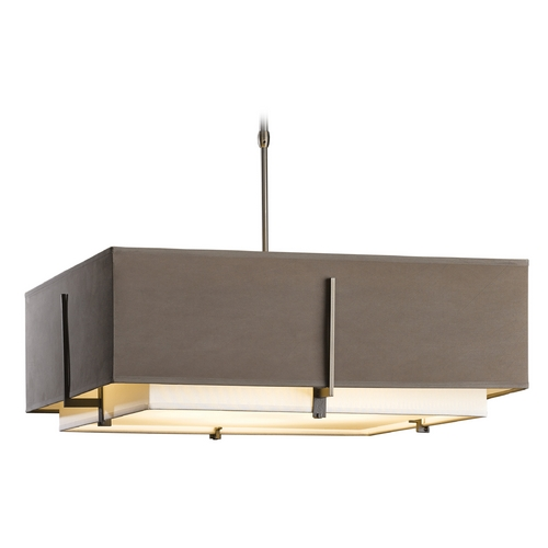 Hubbardton Forge Lighting Hubbardton Forge Lighting Exos Dark Smoke Pendant Light with Square Shade 139635-SKT-STND-07-SFSD