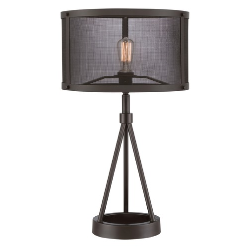 Quoizel Lighting Quoizel Union Station Western Bronze Table Lamp with Drum Shade UST6127WT