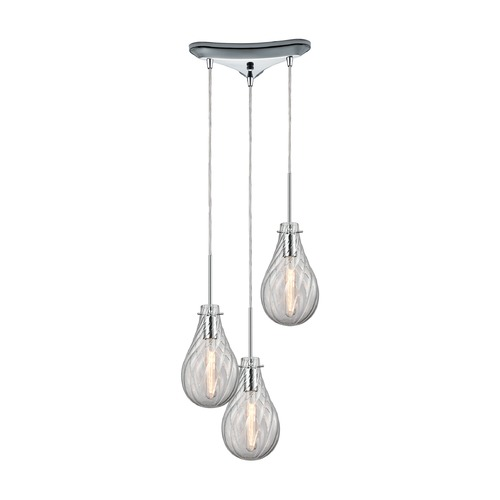 Elk Lighting Elk Lighting Cirrus Polished Chrome Multi-Light Pendant with Bowl / Dome Shade 10463/3