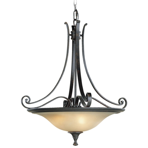 Feiss Lighting Pendant Light with Amber Glass in Liberty Bronze Finish F1931/3LBR