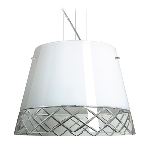 Besa Lighting Besa Lighting Amelia Satin Nickel LED Pendant Light with Empire Shade 1KV-4340WC-LED-SN