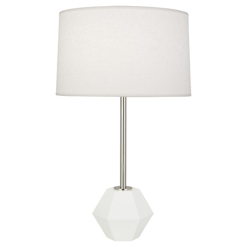 Robert Abbey Lighting Robert Abbey Lighting Marcel Polished Nickel / Matte White Table Lamp with Drum Shade W201