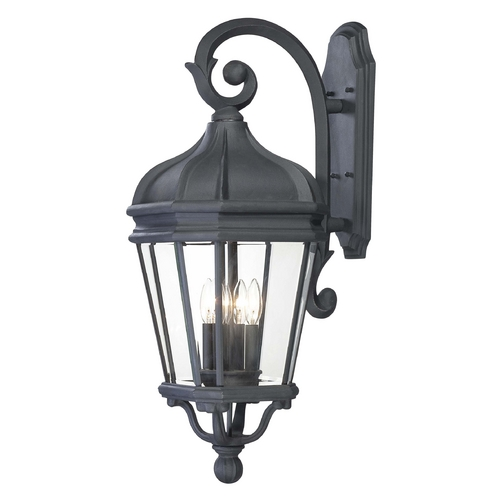 Minka Lavery Outdoor Wall Light with Clear Glass in Black Finish 8693-66