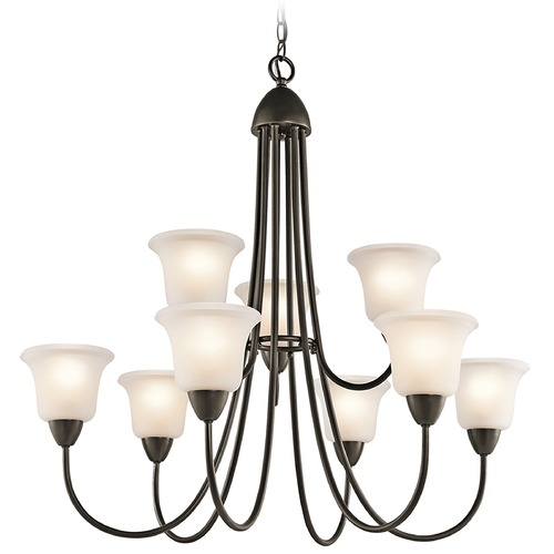 Kichler Lighting Kichler Chandelier with White Glass in Olde Bronze Finish 42885OZ