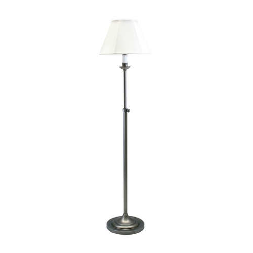 House of Troy Lighting Floor Lamp with White Shade in Antique Silver Finish CL201-AS