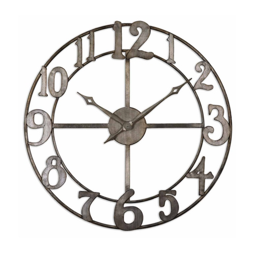 Uttermost Lighting Clock in Antique Silver Finish 06681