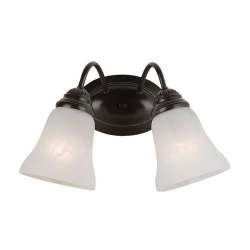 Sea Gull Lighting Bathroom Light with Alabaster Glass in Heirloom Bronze Finish 44761-782