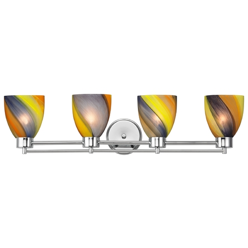 Design Classics Lighting Modern Bathroom Light with Art Glass in Chrome Finish 704-26 GL1015MB