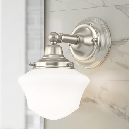 Design Classics Lighting Schoolhouse Sconce Satin Nickel White Opal Glass 1 Light 6 Inch Width WC1-09 GC6