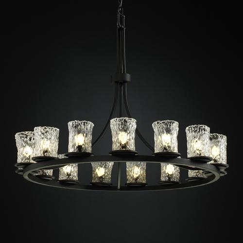 Justice Design Group Justice Design Veneto Luce 15-Light Chandelier in Matte Black GLA-8715-16-CLRT-MBLK