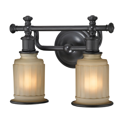 Elk Lighting LED Bathroom Light with Beige / Cream Glass in Oil Rubbed Bronze Finish 52011/2-LED