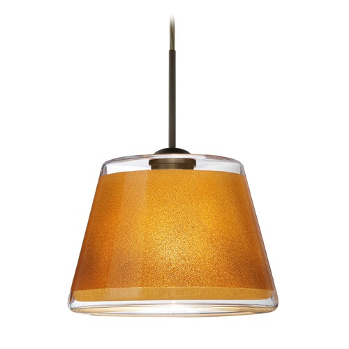 Besa Lighting Besa Lighting Pica Bronze LED Mini-Pendant Light with Empire Shade 1JT-PIC9GD-LED-BR