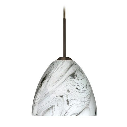 Besa Lighting Besa Lighting Sasha Ii Bronze LED Mini-Pendant Light with Bell Shade 1BT-7572MG-LED-BR