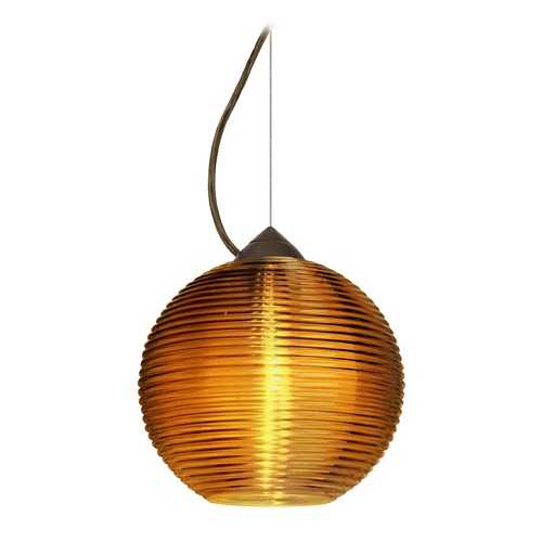 Besa Lighting Besa Lighting Kristall Bronze Pendant Light with Globe Shade 1KX-461682-BR