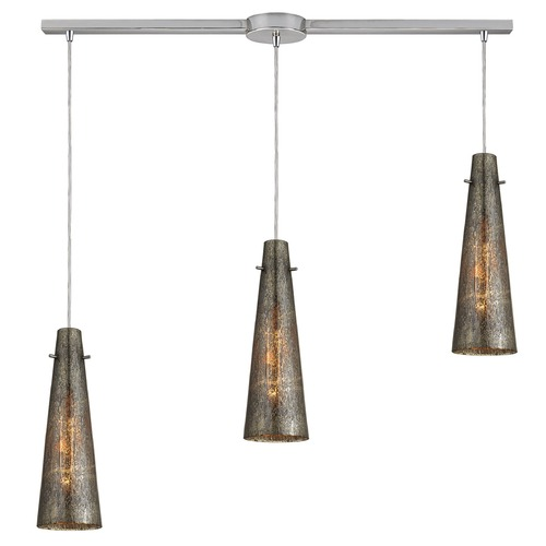 Elk Lighting Elk Lighting Rury Satin Nickel Multi-Light Pendant with Conical Shade 10247/3L