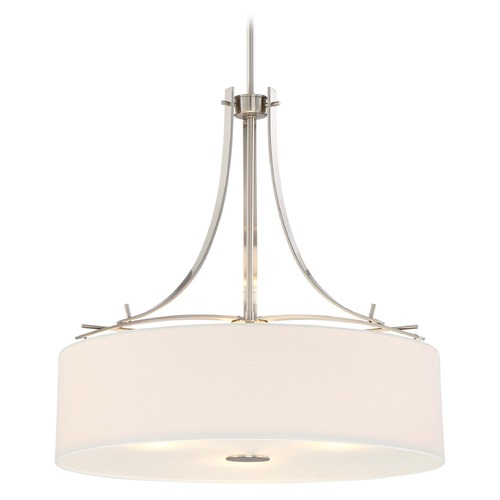 Minka Lighting Minka Poleis Brushed Nickel Pendant Light with Drum Shade 3308-84