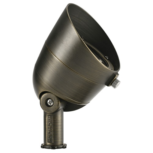 Kichler Lighting 12V Brass LED Flood Landscape Light by Kichler 10 Degree Spot 2700K 16150CBR27