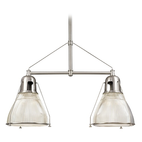 Hudson Valley Lighting Modern Island Light with Clear Glass in Satin Nickel Finish 7312-SN
