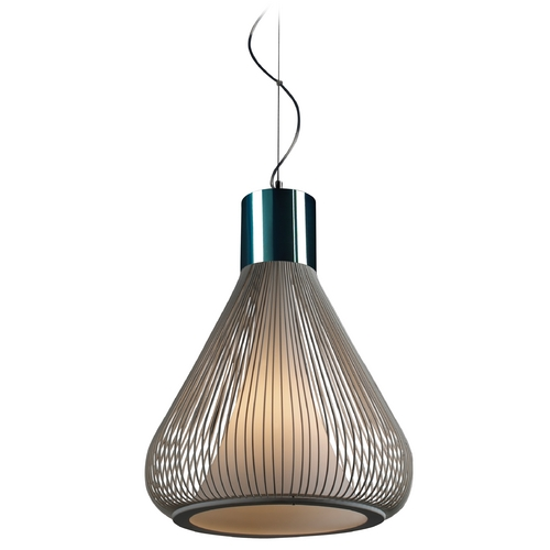 ET2 Lighting Modern Pendant Light with White Glass in Polished Chrome/white Finish E21501-09WT