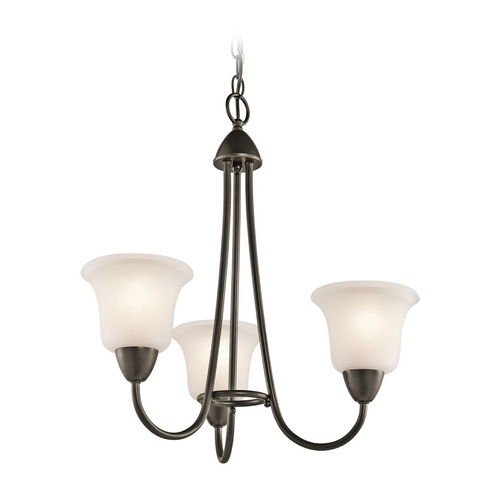 Kichler Lighting Kichler Mini-Chandelier with White Glass in Olde Bronze Finish 42883OZ