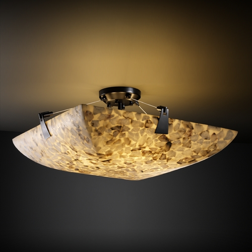 Justice Design Group Justice Design Group Alabaster Rocks! Collection Semi-Flushmount Light ALR-9631-25-MBLK