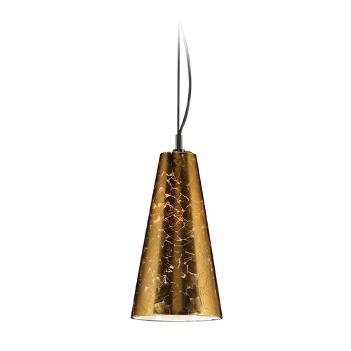 PLC Lighting Modern Mini-Pendant Light with Brown Glass 76011 GOLD