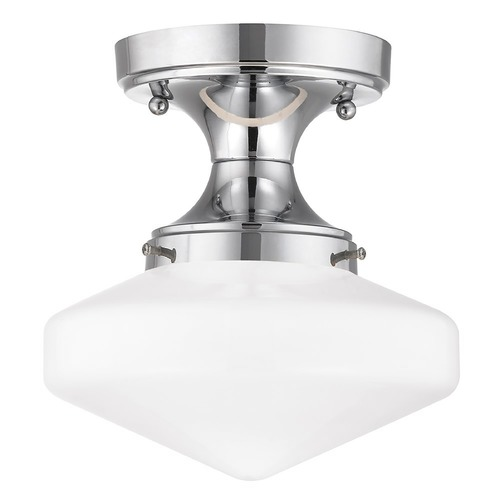 Design Classics Lighting 8-Inch Wide Schoolhouse Ceiling Light in Chrome Finish FDS-26 / GE8