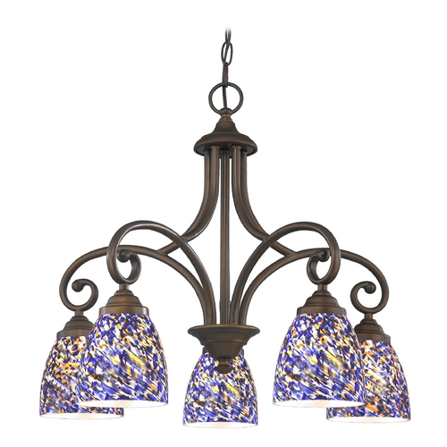 Design Classics Lighting Chandelier with Blue Glass in Neuvelle Bronze Finish 717-220 GL1009MB