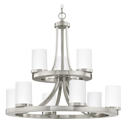 Design Classics Lighting Satin Nickel Chandelier with White Glass 9-Lt 2-Tier 163-09 GL1028C