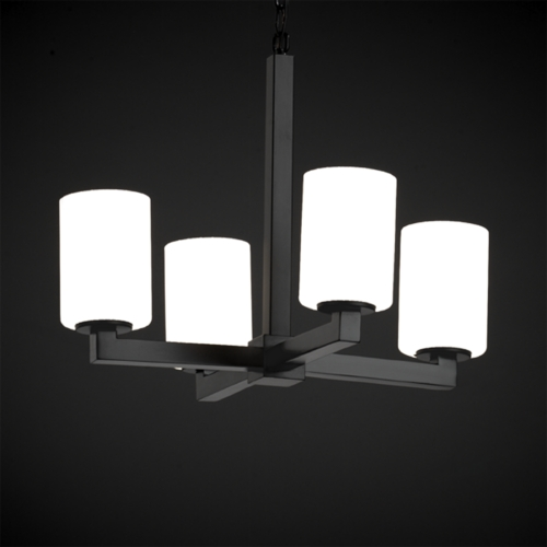 Justice Design Group Justice Design Group Fusion Collection Mini-Chandelier FSN-8829-10-RBON-MBLK