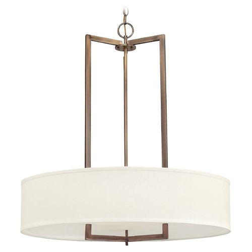 Hinkley Lighting Modern Drum Pendant Light with White Shade in Brushed Bronze Finish 3206BR