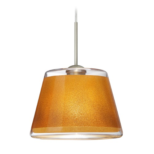 Besa Lighting Besa Lighting Pica Satin Nickel LED Mini-Pendant Light with Empire Shade 1JT-PIC9GD-LED-SN