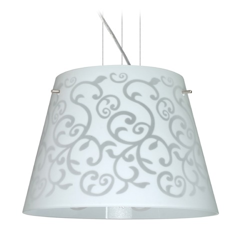 Besa Lighting Besa Lighting Amelia Satin Nickel LED Pendant Light with Empire Shade 1KV-4340WD-LED-SN