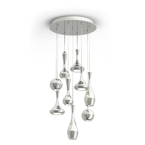 Modern Forms by WAC Lighting Acid LED Round Chandelier PD-ACID09R-PN