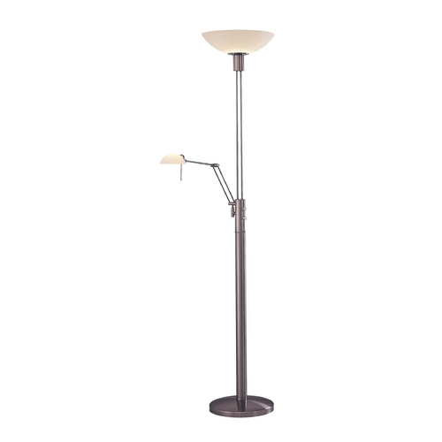 George Kovacs Lighting Modern Floor Lamp with White Glass in Brushed Nickel Finish P257-084